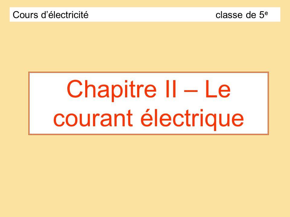 Chapitre II – Le courant électrique