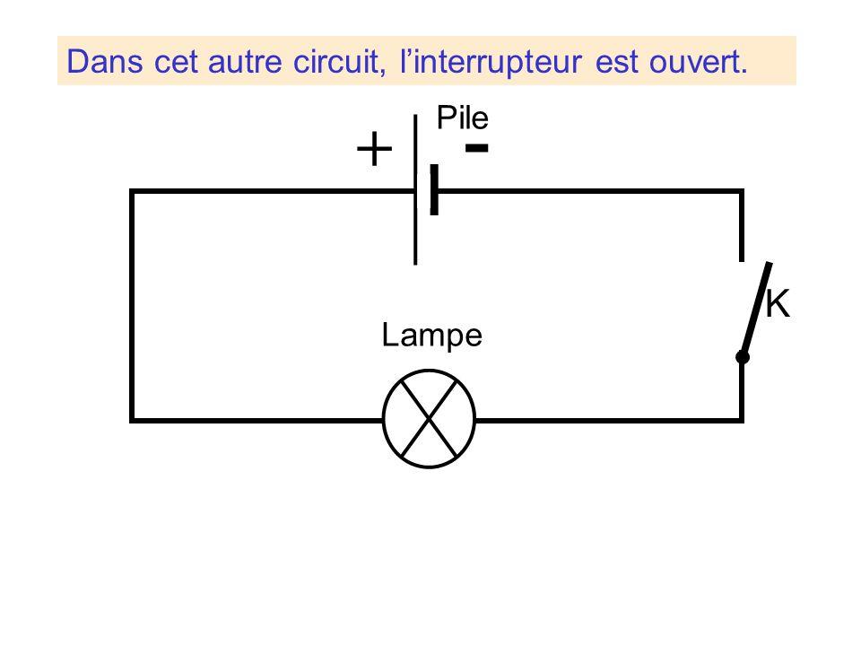Dans cet autre circuit, l'interrupteur est ouvert.