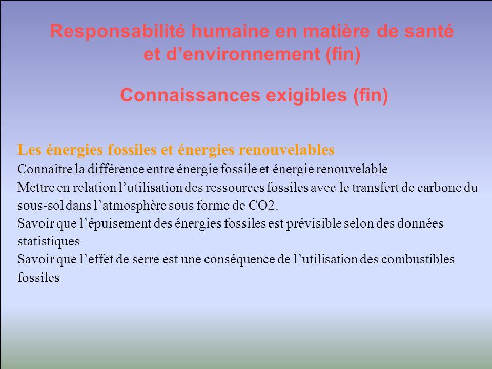 Responsabilité humaine en matière de santé et d'environnement (fin)