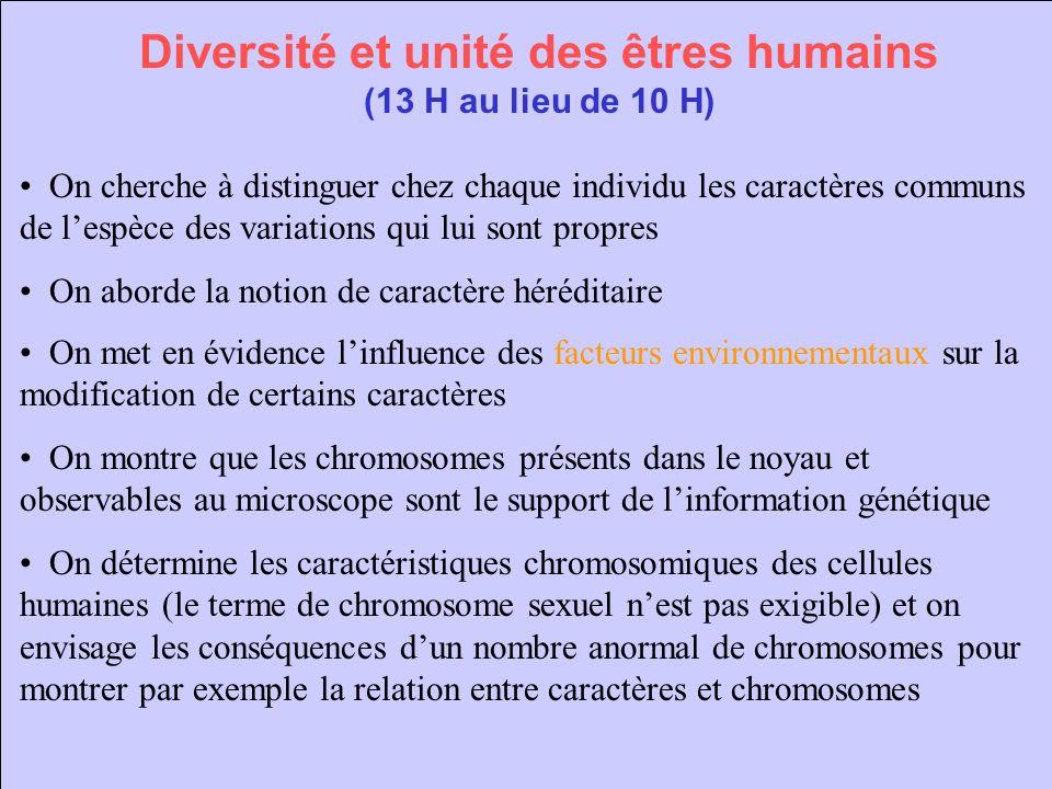 Diversité et unité des êtres humains (13 H au lieu de 10 H)
