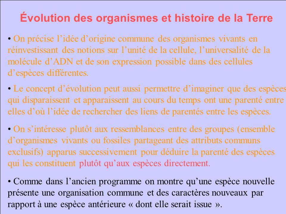 Évolution des organismes et histoire de la Terre