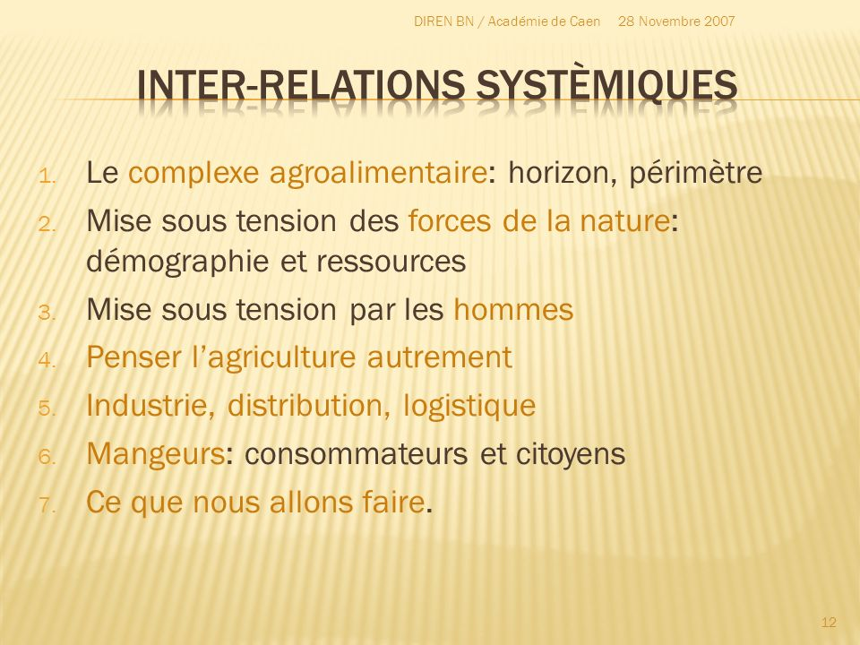 Inter-relations systèmiques