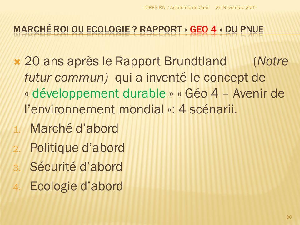 Marché ROI ou Ecologie Rapport « GEO 4 » du PNUE