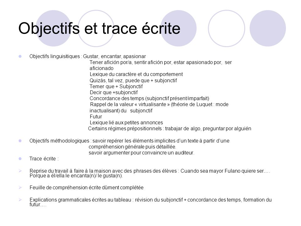 Objectifs et trace écrite