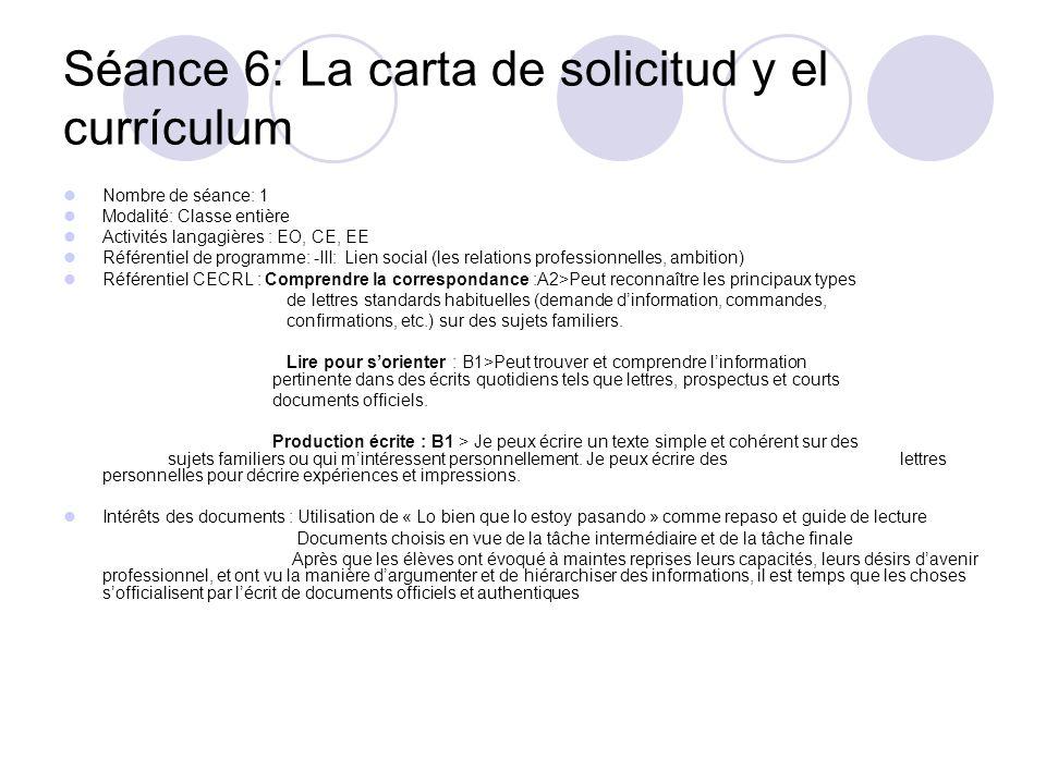 Séance 6: La carta de solicitud y el currículum