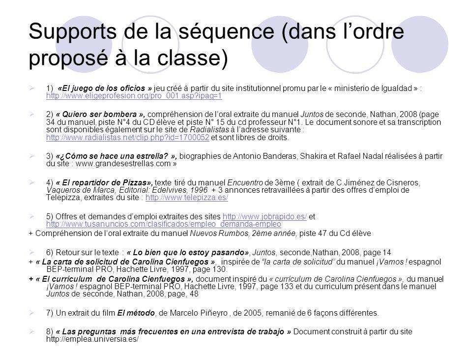 Supports de la séquence (dans l'ordre proposé à la classe)