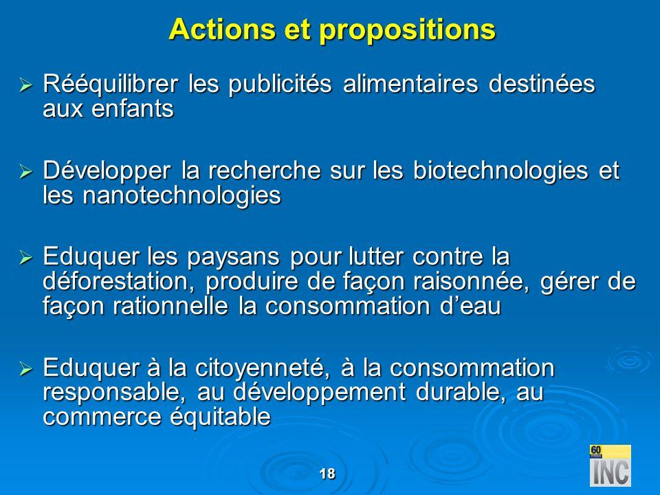 Actions et propositions