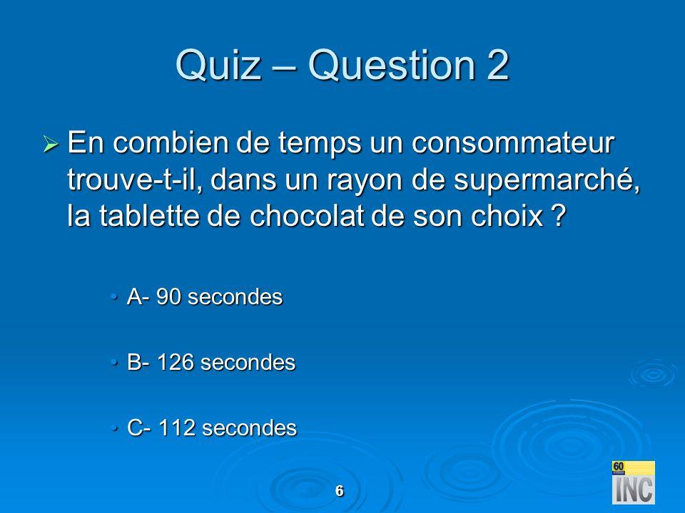 Quiz – Question 2 En combien de temps un consommateur trouve-t-il, dans un rayon de supermarché, la tablette de chocolat de son choix