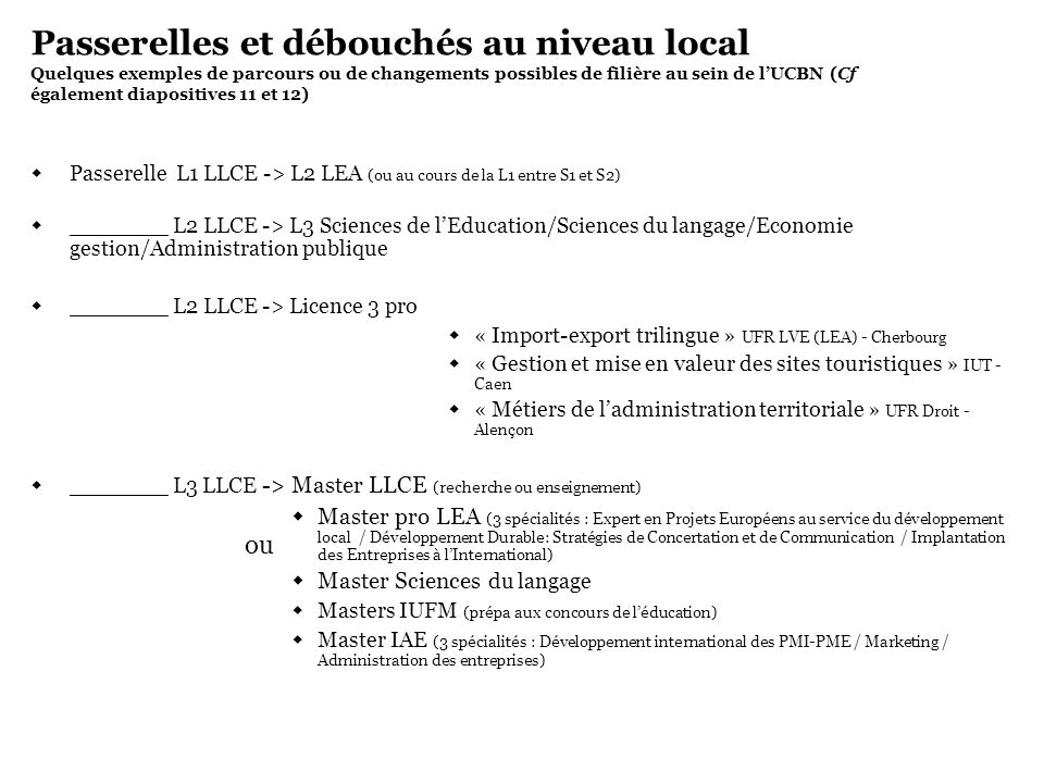 Passerelles et débouchés au niveau local Quelques exemples de parcours ou de changements possibles de filière au sein de l'UCBN (Cf également diapositives 11 et 12)