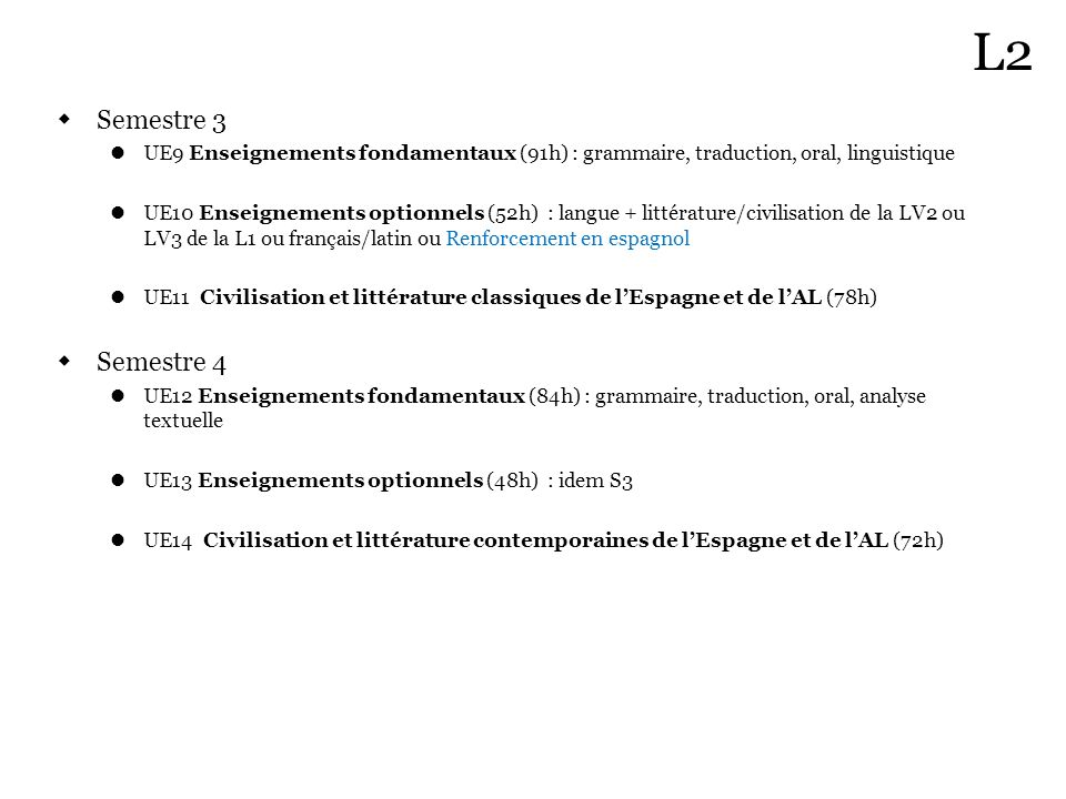 L2 Semestre 3. UE9 Enseignements fondamentaux (91h) : grammaire, traduction, oral, linguistique.