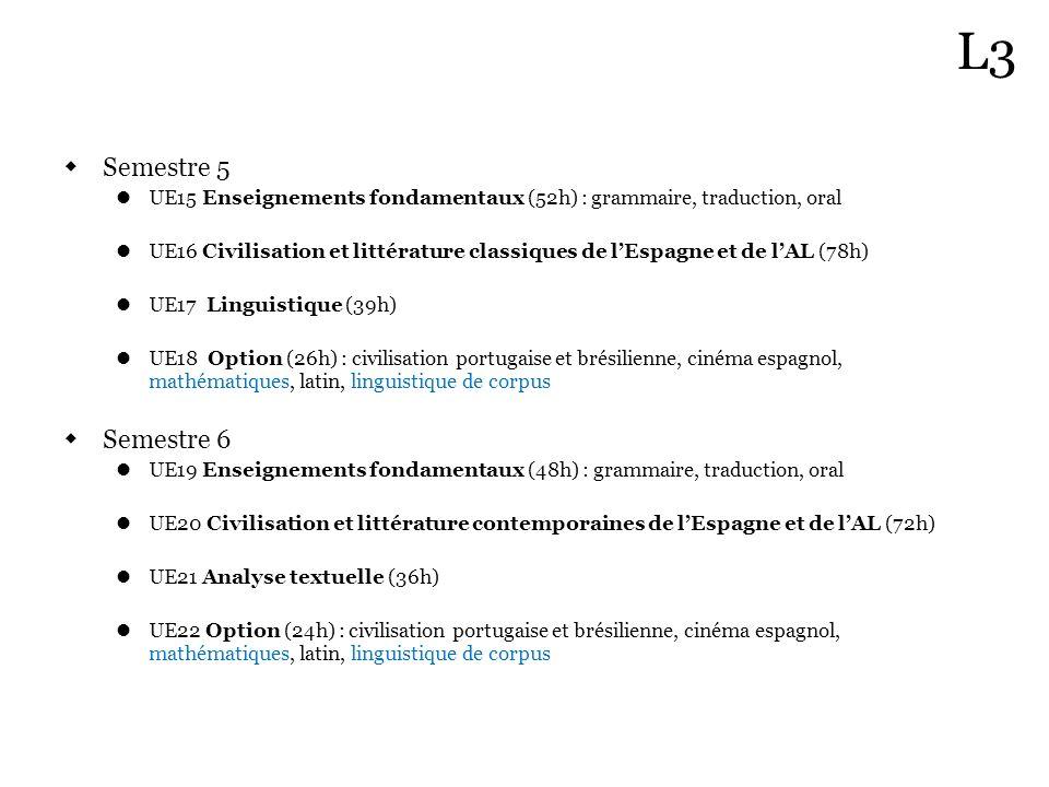 L3 Semestre 5. UE15 Enseignements fondamentaux (52h) : grammaire, traduction, oral.