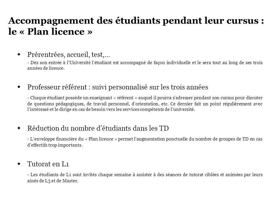 Accompagnement des étudiants pendant leur cursus : le « Plan licence »