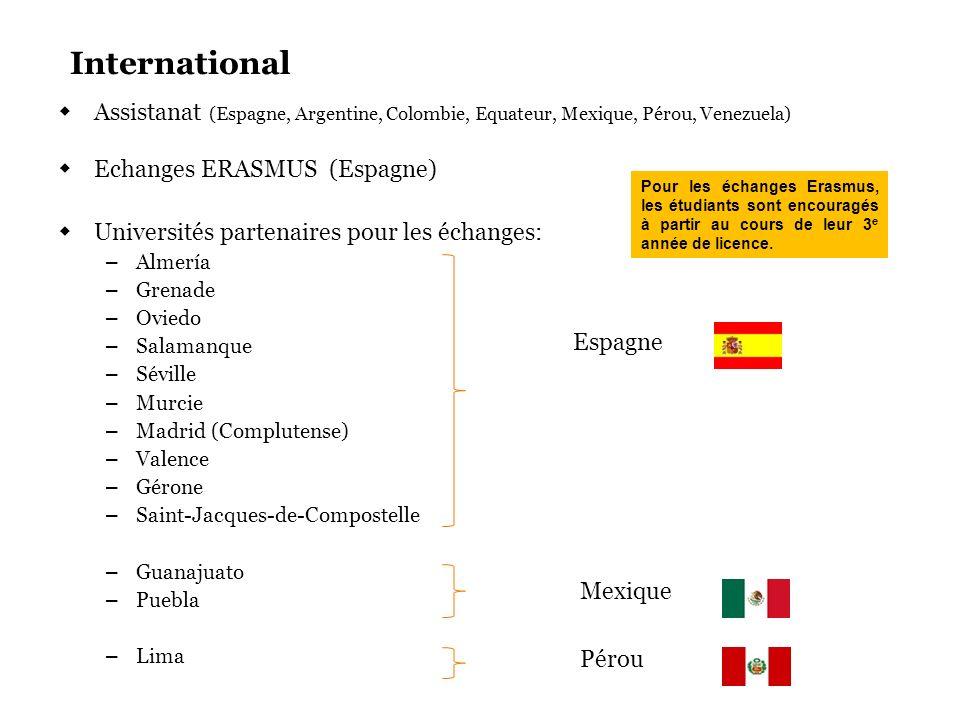 International Assistanat (Espagne, Argentine, Colombie, Equateur, Mexique, Pérou, Venezuela) Echanges ERASMUS (Espagne)