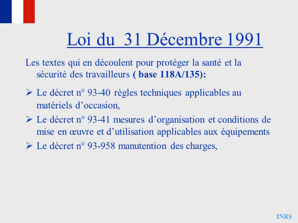 Loi du 31 Décembre 1991Les textes qui en découlent pour protéger la santé et la sécurité des travailleurs ( base 118A/135):
