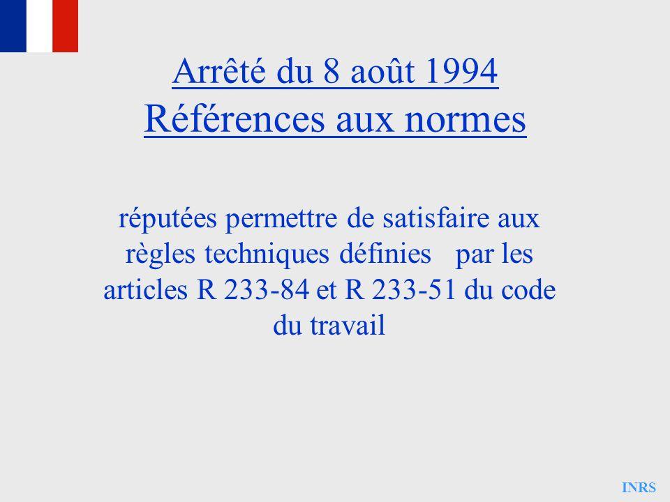 Arrêté du 8 août 1994 Références aux normes