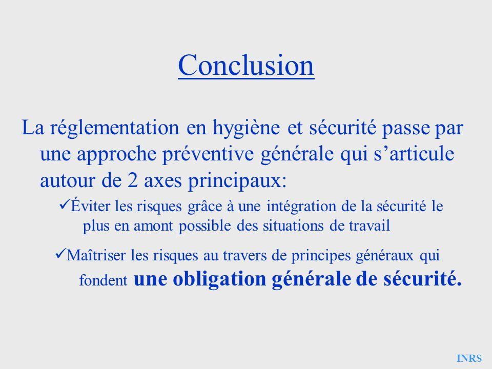 ConclusionLa réglementation en hygiène et sécurité passe par une approche préventive générale qui s'articule autour de 2 axes principaux: