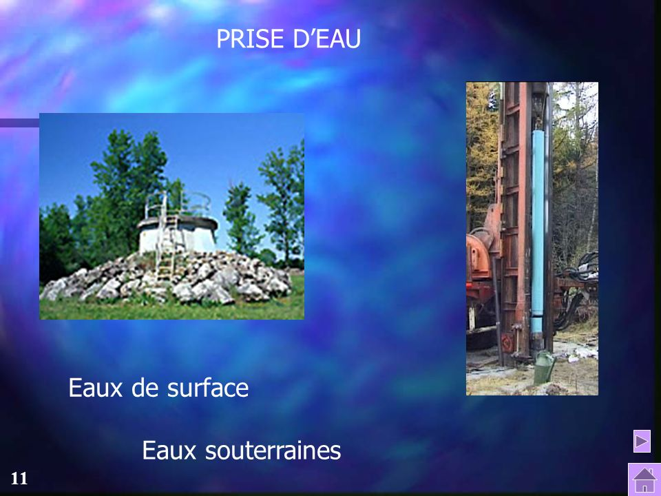PRISE D'EAU Eaux de surface Eaux souterraines