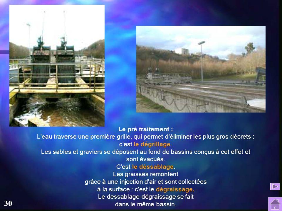 Le pré traitement : L eau traverse une première grille, qui permet d éliminer les plus gros décrets : c est le dégrillage.