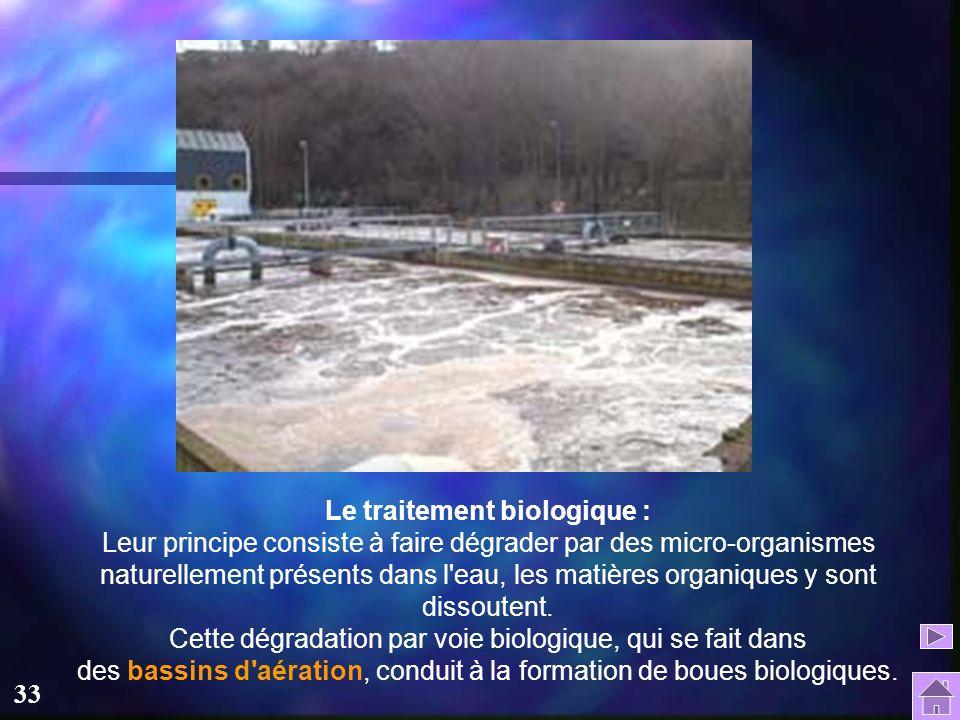 Le traitement biologique : Leur principe consiste à faire dégrader par des micro-organismes naturellement présents dans l eau, les matières organiques y sont dissoutent.