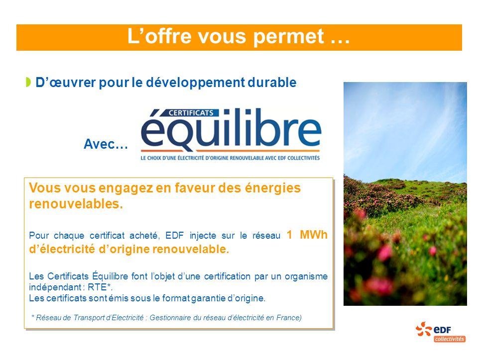 L'offre vous permet … D'œuvrer pour le développement durable Avec…