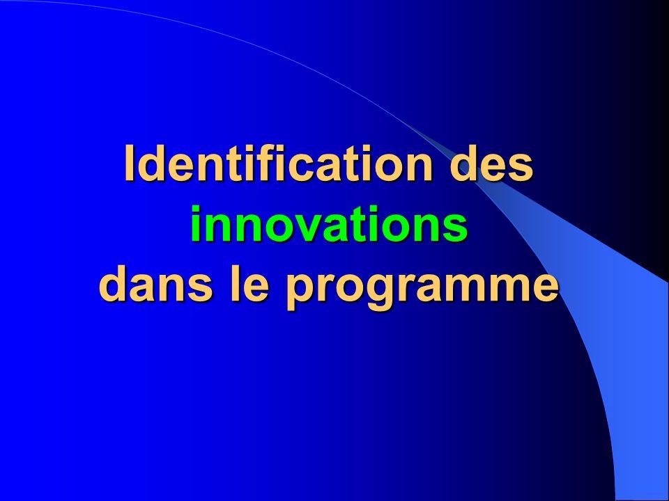 Identification des innovations dans le programme
