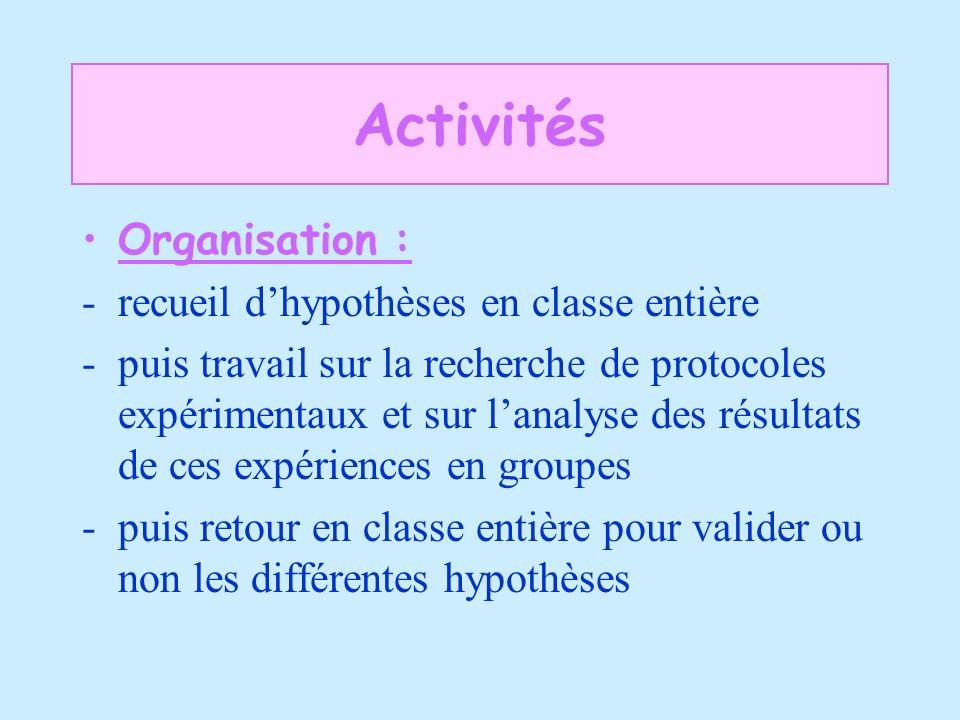 Activités Organisation : recueil d'hypothèses en classe entière