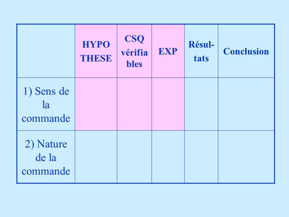 1) Sens de la commande 2) Nature de la commande HYPO THESE CSQ
