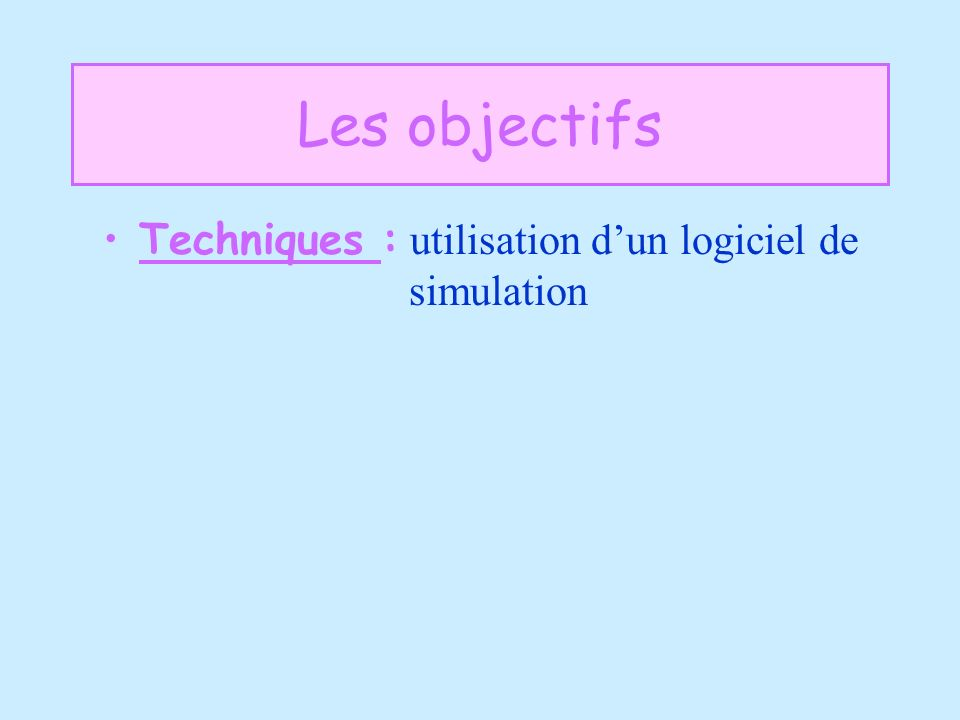 Techniques : utilisation d'un logiciel de simulation