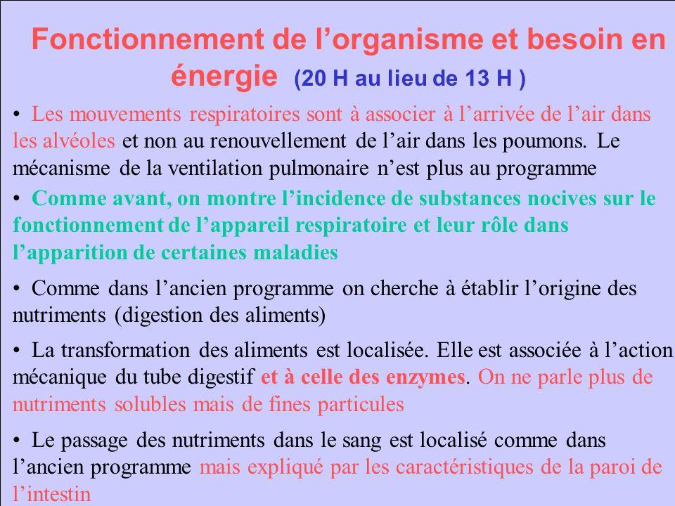 Fonctionnement de l'organisme et besoin en énergie (20 H au lieu de 13 H )