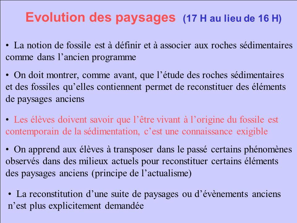 Evolution des paysages (17 H au lieu de 16 H)