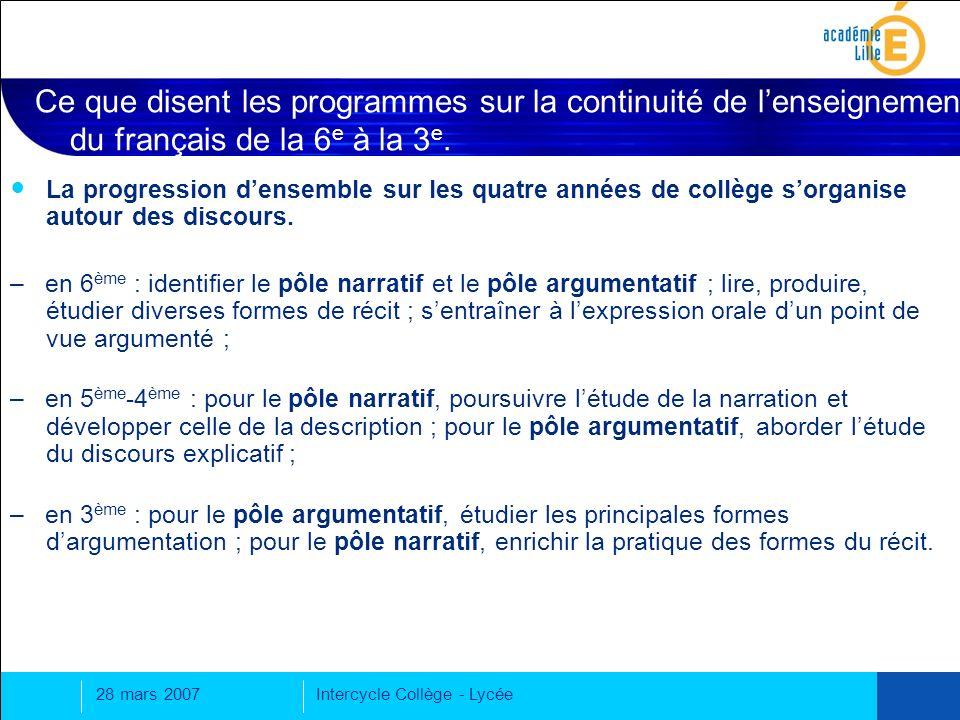 Ce que disent les programmes sur la continuité de l'enseignement du français de la 6e à la 3e.