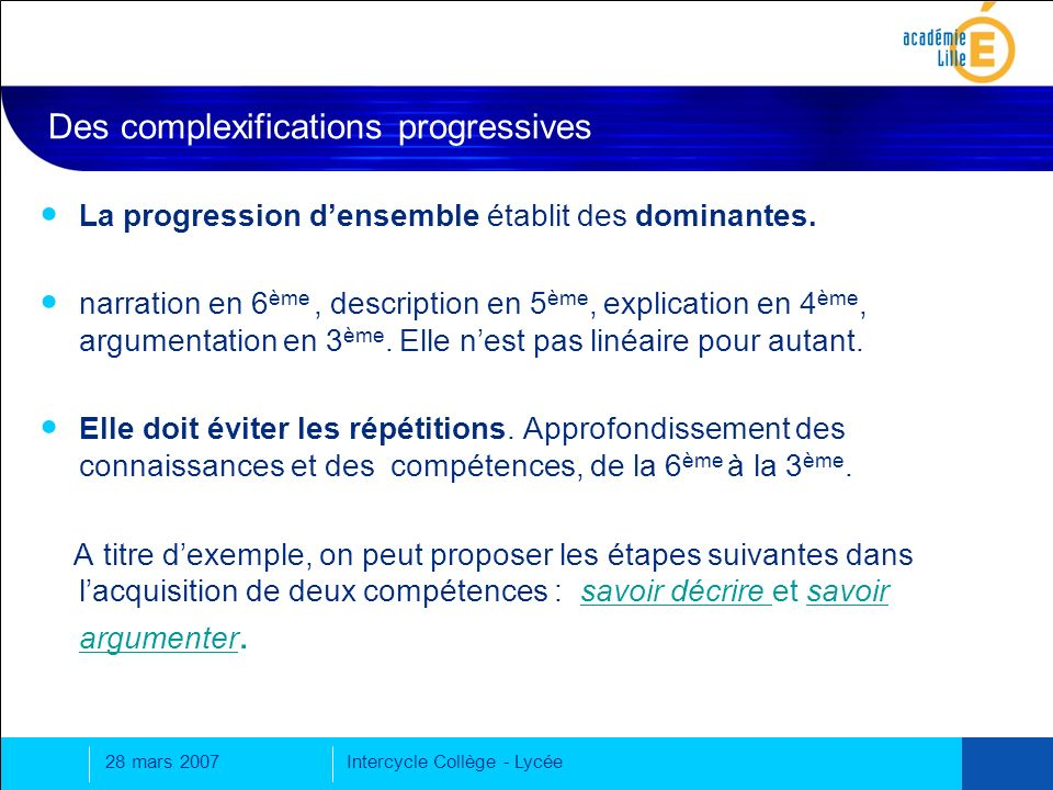 Des complexifications progressives