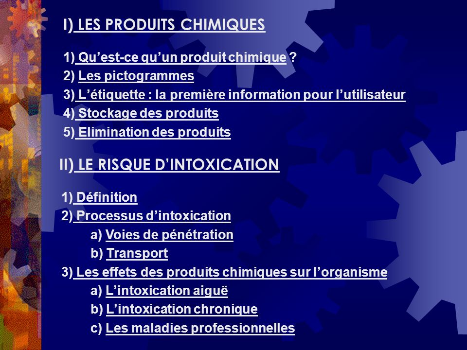 I) LES PRODUITS CHIMIQUES
