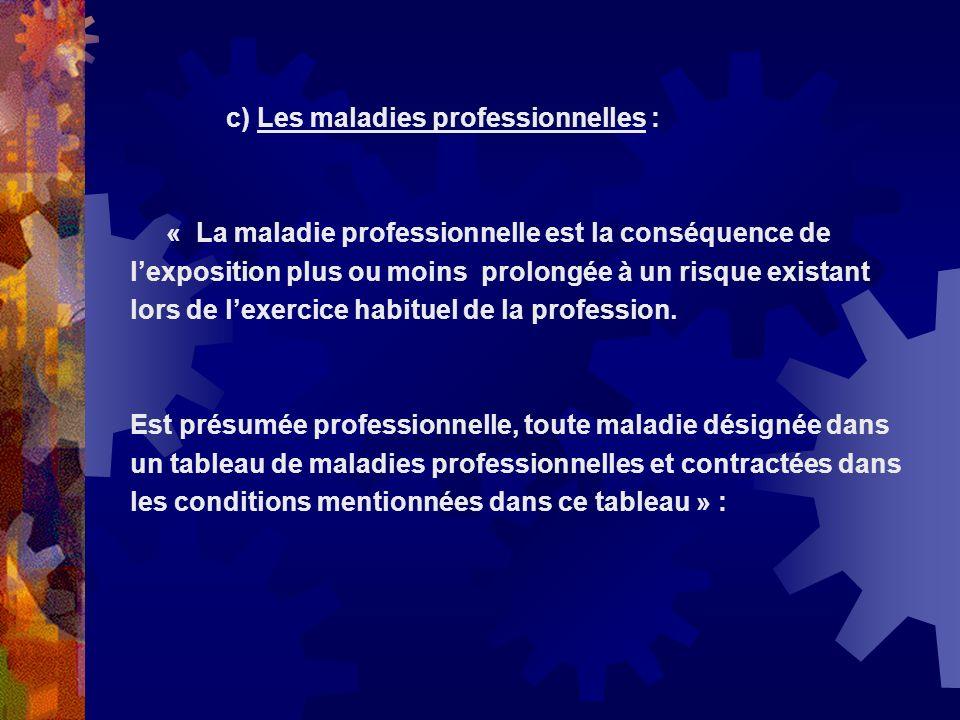 c) Les maladies professionnelles :