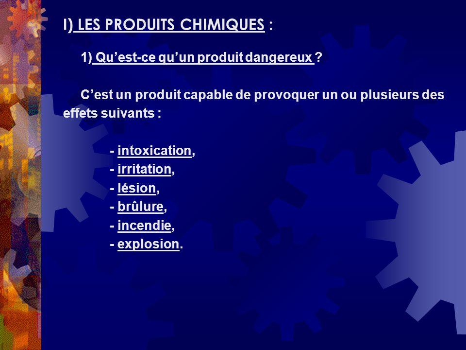 I) LES PRODUITS CHIMIQUES :