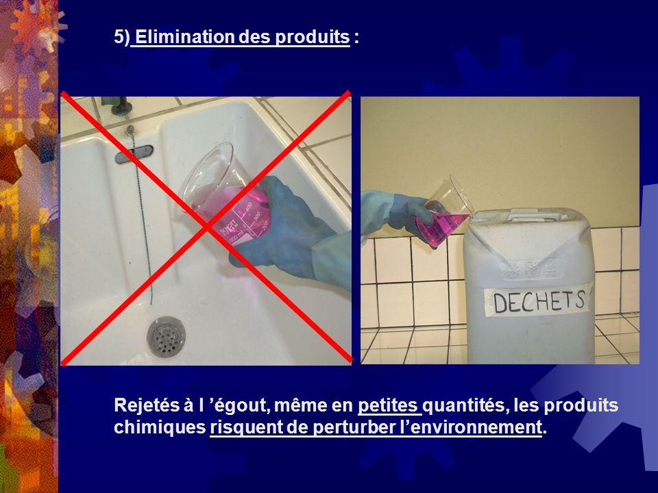 5) Elimination des produits :