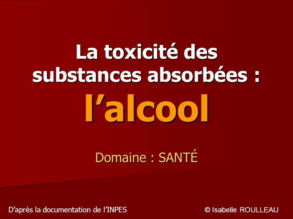 La toxicité des substances absorbées : l'alcool