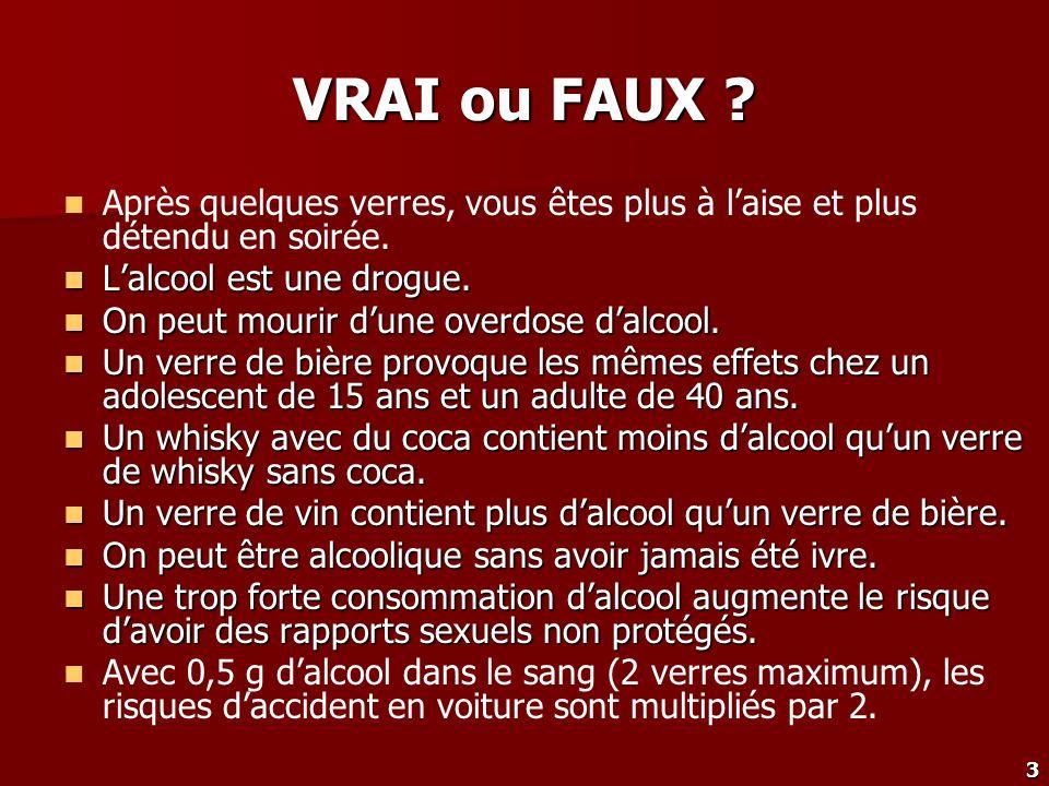 VRAI ou FAUX Après quelques verres, vous êtes plus à l'aise et plus détendu en soirée. L'alcool est une drogue.
