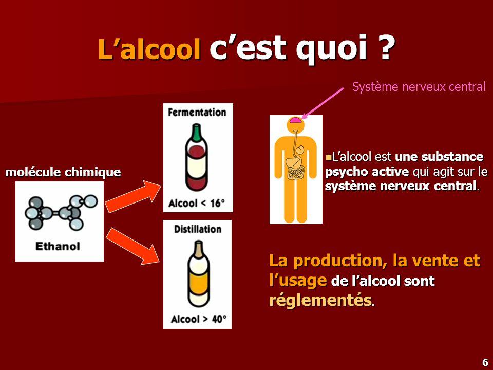 L'alcool c'est quoi Système nerveux central. L'alcool est une substance psycho active qui agit sur le système nerveux central.
