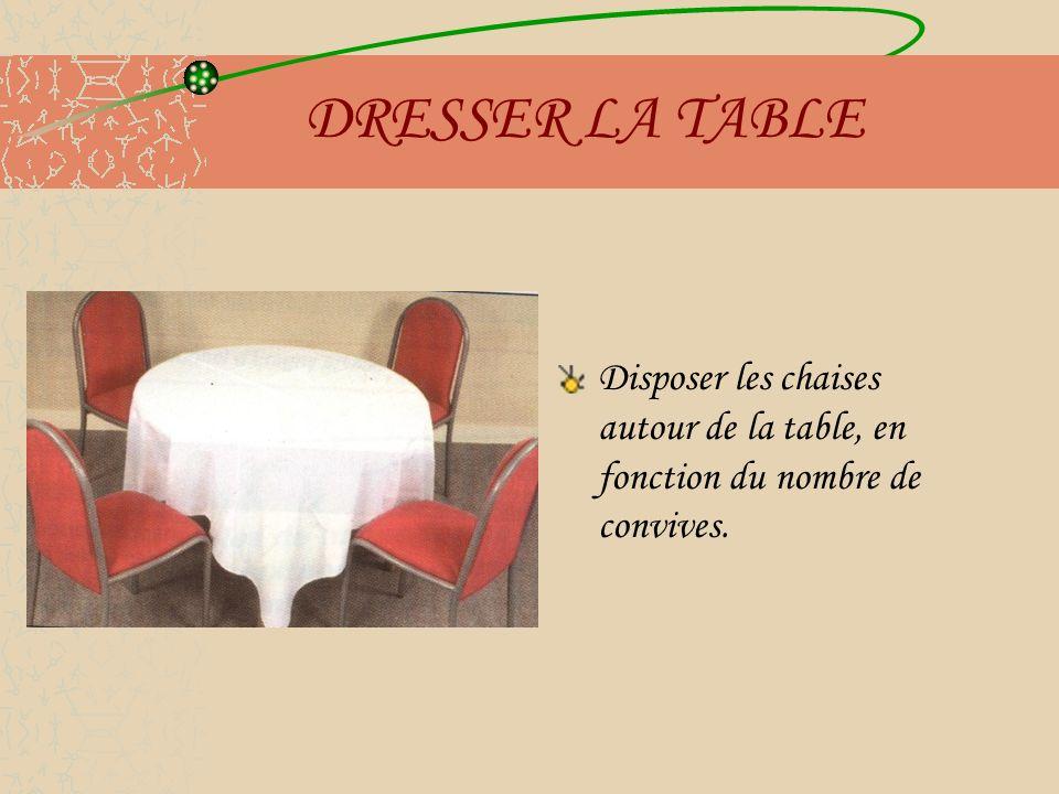 DRESSER LA TABLE Disposer les chaises autour de la table, en fonction du nombre de convives.
