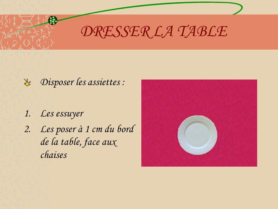 DRESSER LA TABLE Disposer les assiettes : Les essuyer