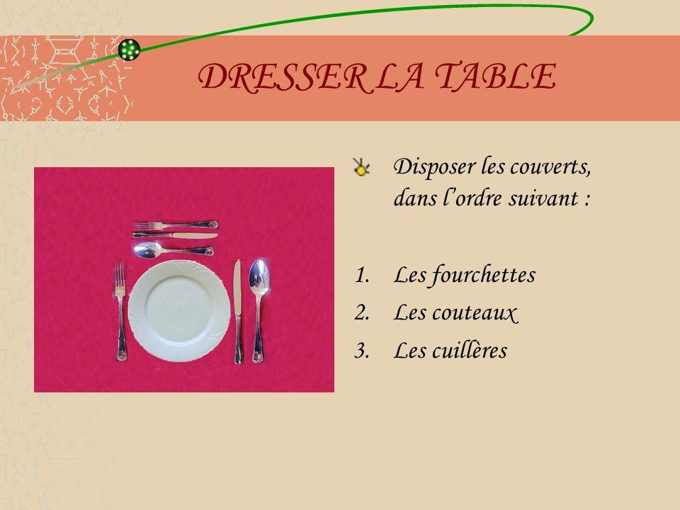 DRESSER LA TABLE Disposer les couverts, dans l'ordre suivant :