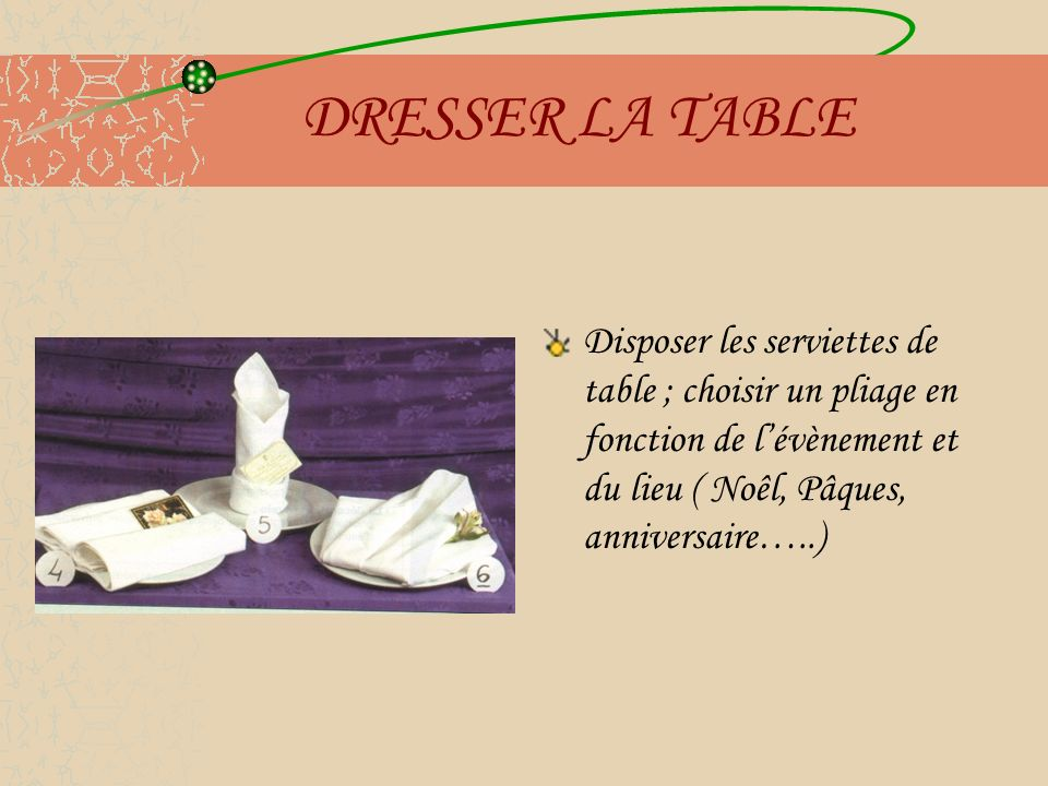 DRESSER LA TABLE Disposer les serviettes de table ; choisir un pliage en fonction de l'évènement et du lieu ( Noêl, Pâques, anniversaire…..)