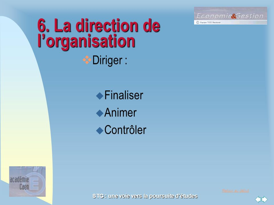 6. La direction de l'organisation