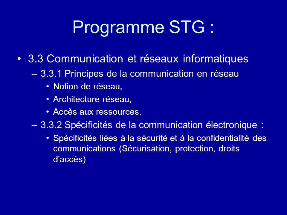 Programme STG : 3.3 Communication et réseaux informatiques