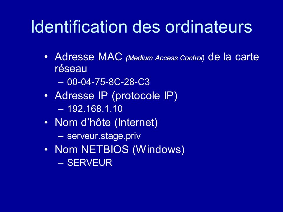 Identification des ordinateurs