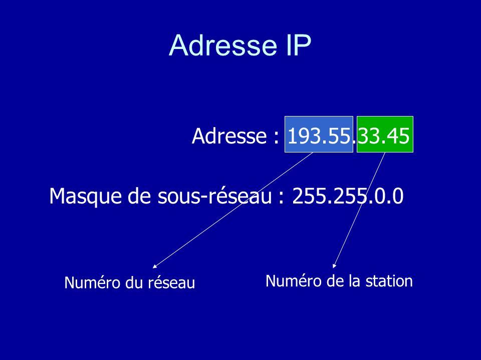 Adresse IP Adresse : 193.55.33.45 Masque de sous-réseau : 255.255.0.0