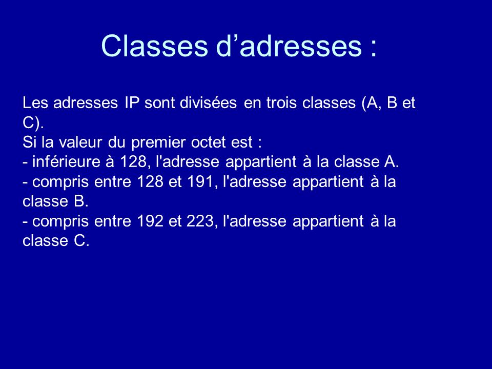 Classes d'adresses :
