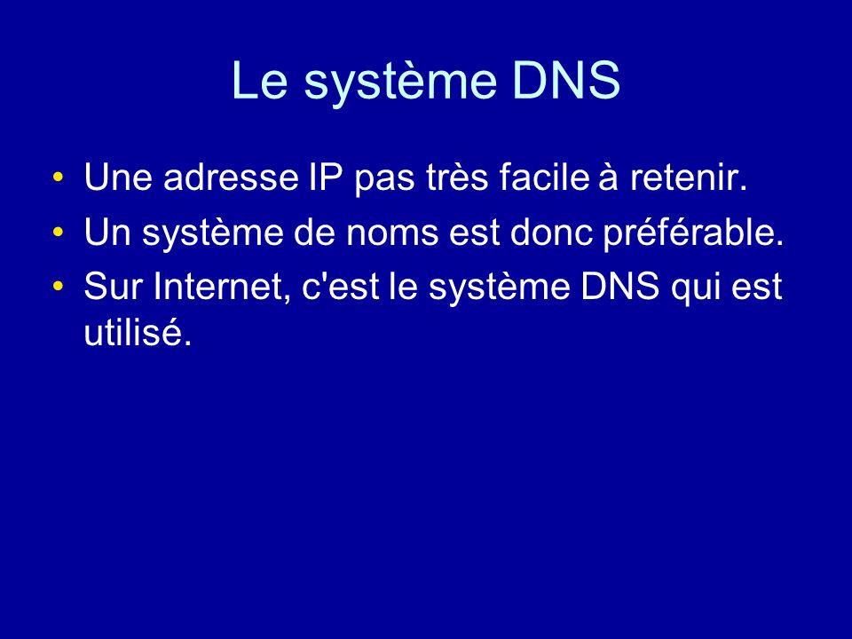 Le système DNS Une adresse IP pas très facile à retenir.