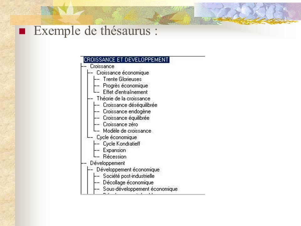 Exemple de thésaurus :
